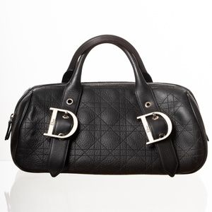 DIOR CALFSKIN CANNAGE BLACK SHOULDER BAG